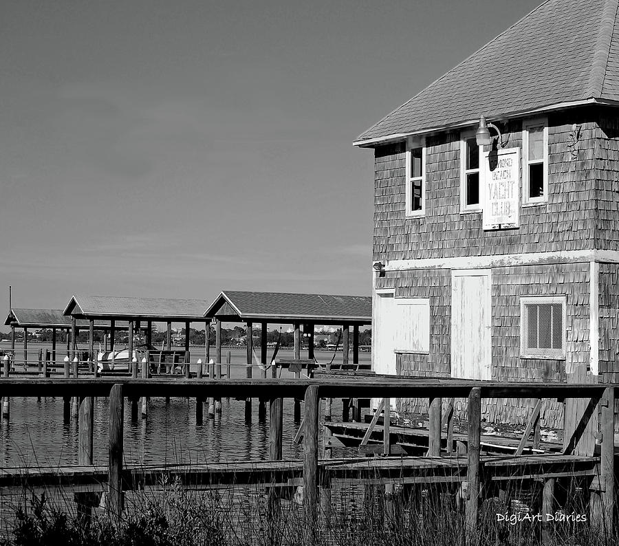 Historic Photograph - Ormond Yacht Club Black And White by DigiArt Diaries by Vicky B Fuller