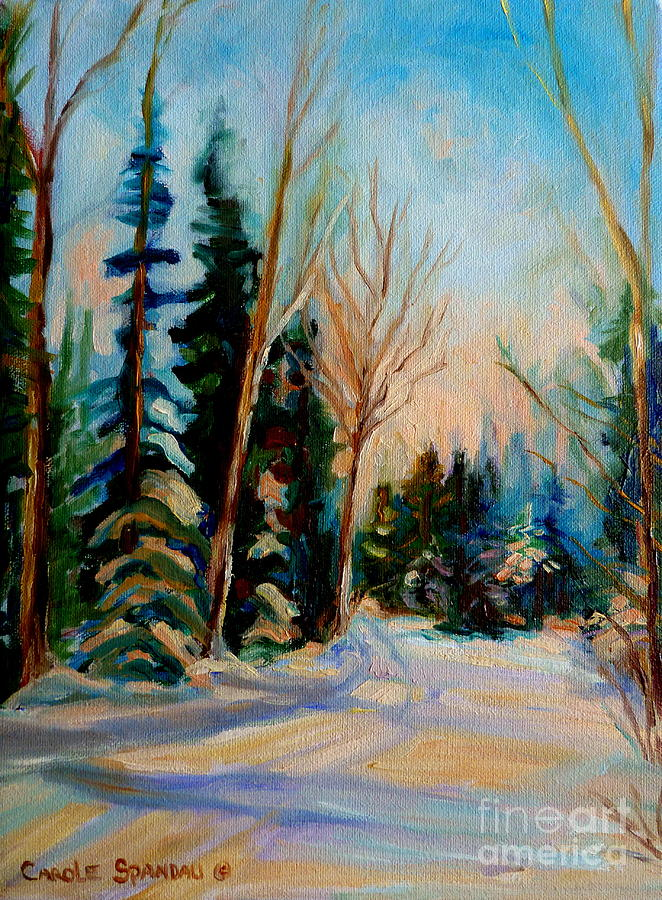 Ormstown Quebec Winter Road Painting - Ormstown Quebec Winter Road by Carole Spandau