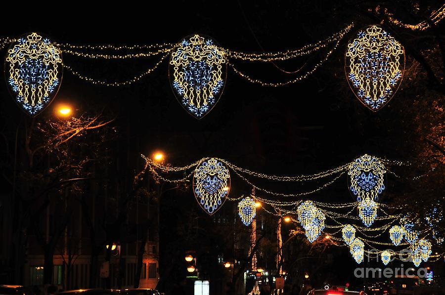 Greeting Photograph - Ornamental Design Christmas Light Decoration In Madrid, Spain by Akshay Thaker PhotOvation