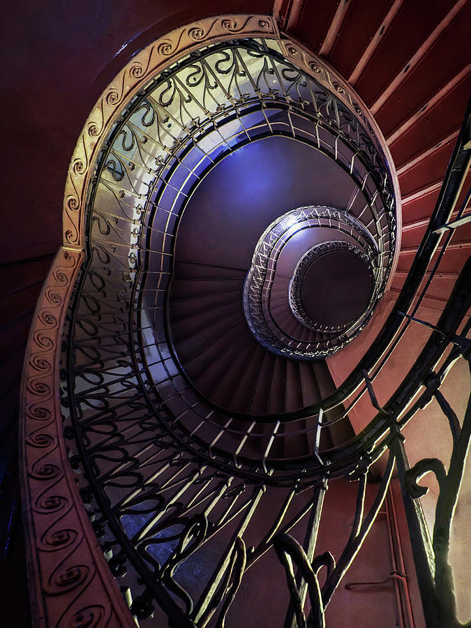 Architecture Photograph - Ornamented Metal Spiral Staircase by Jaroslaw Blaminsky