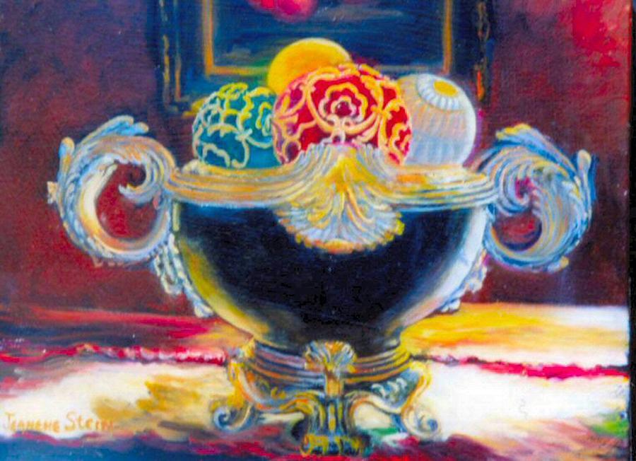 Decorative Balls Painting - Ornate Black Bowl by Jeanene Stein