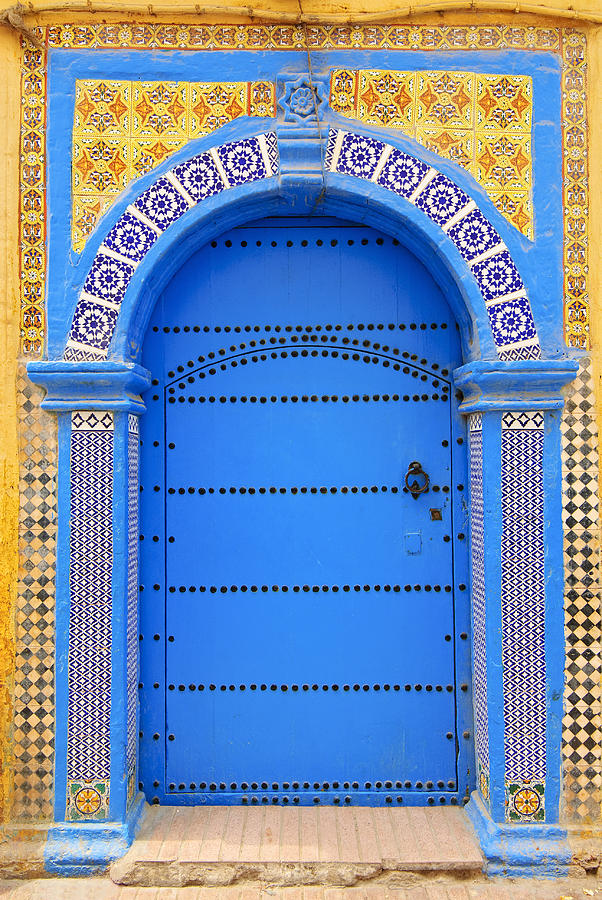 Vertical Photograph - Ornate Moroccan Doorway, Essaouira, Morocco, Middle East, North Africa, Africa by Andrea Thompson Photography