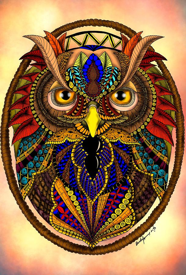 Ornate Owl In Color by Becky Herrera