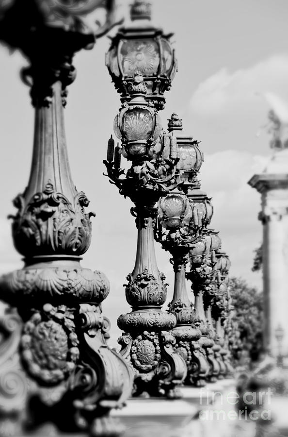 Black And White Photograph - Ornate Paris Street Lamp by Ivy Ho