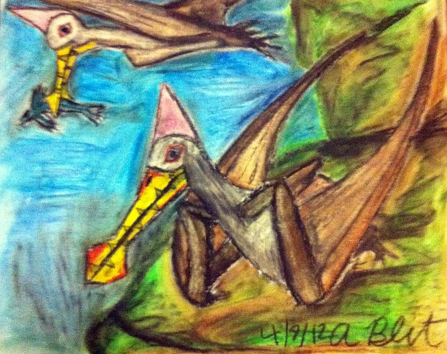 Pterosaurs Pastel - Ornithocheirus By The Sea by Andrew Blitman