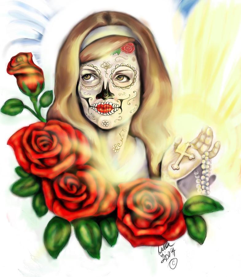 Pin Ups Digital Art - Oro Muerto by Lila Sandoval