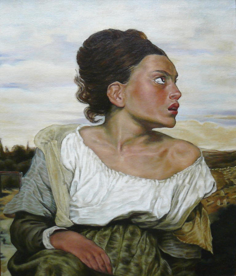 Portraits Painting - Orphan In The Cemetery After Delacroix. by Margaret Stockdale