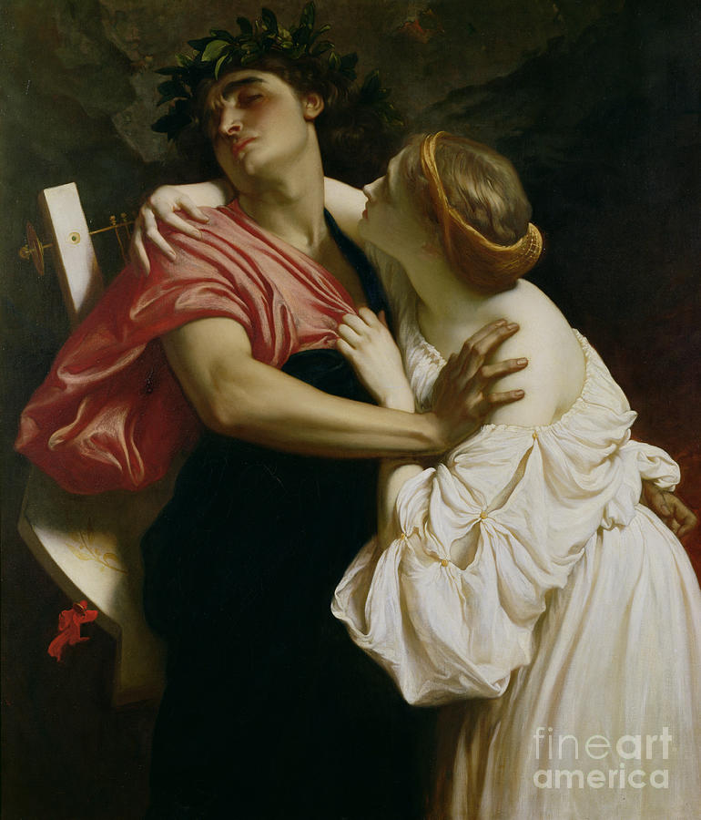Harp Painting - Orpheus And Euridyce by Frederic Leighton