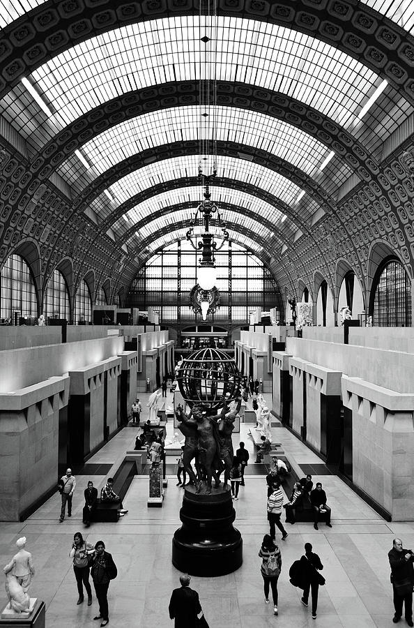 Orsay Museum Symmetric View Of Interior Hall Paris France Black And White