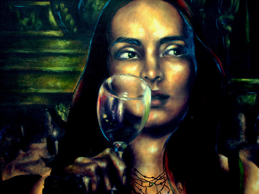 Portrait Painting - Orsi In Restaurant Detail 1  by Eszter Csaki