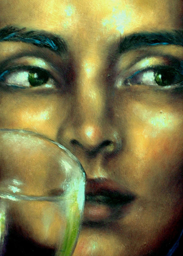 Portrait Painting - Orsi In Restaurant Detail 2 by Eszter Csaki
