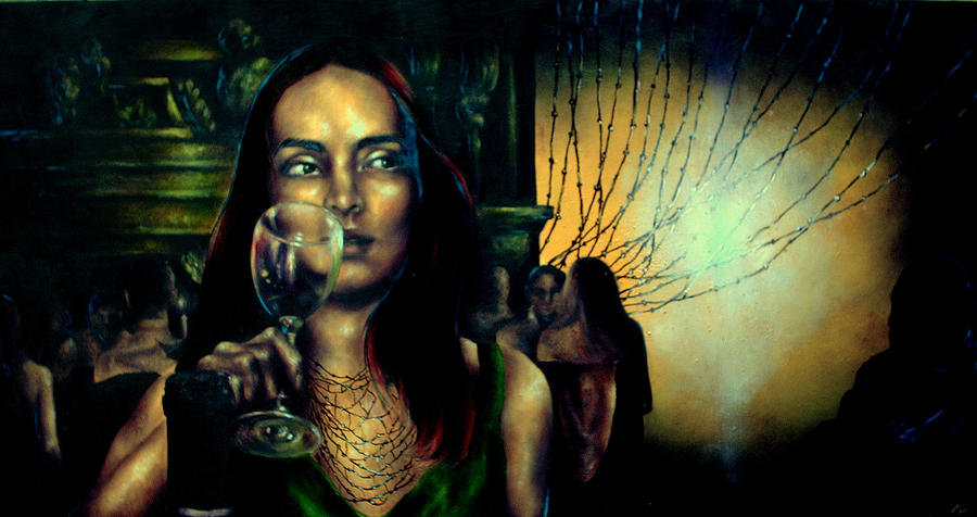 Orsi In Restaurant  Painting by Eszter Csaki