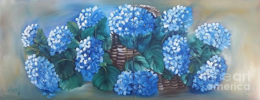 Flowers Painting - Ortencias Azules 2 by Juan Carlos Gonzalez