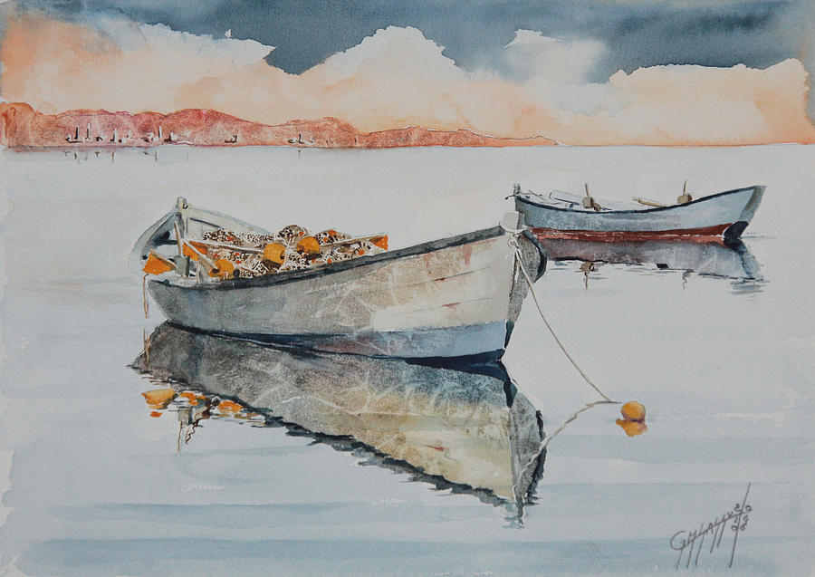 Boats Painting - Orze by Giovanni Marco Sassu