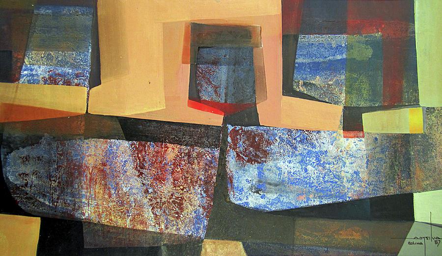 Oil Abstract Painting - Os1957bo011 Abstract Landscape Of Potosi Bolivia 18 X 33.3 by Alfredo Da Silva