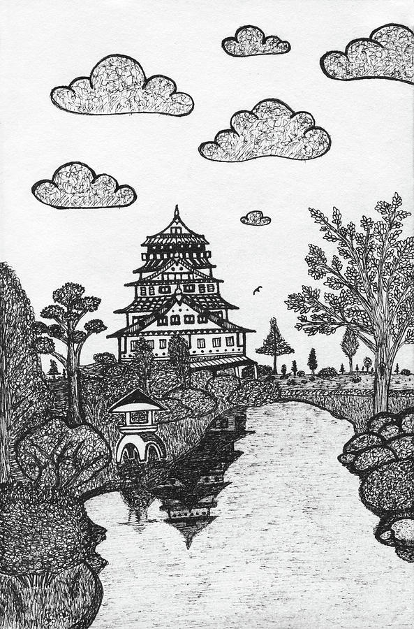 Castle Drawing - Osaka Castle by Nick Sheludiak