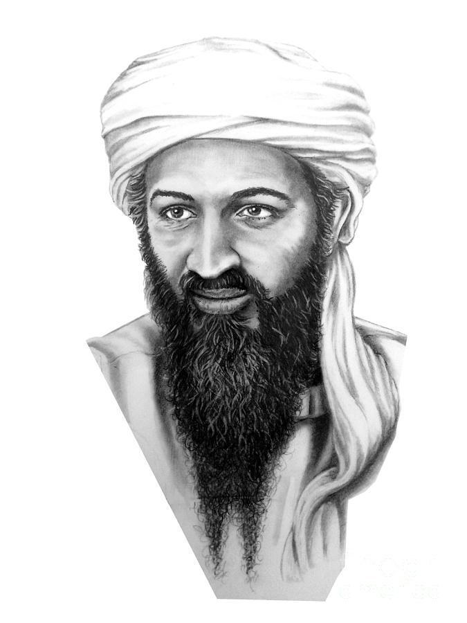 Target Drawing - Osama Bin Laden by Murphy Elliott