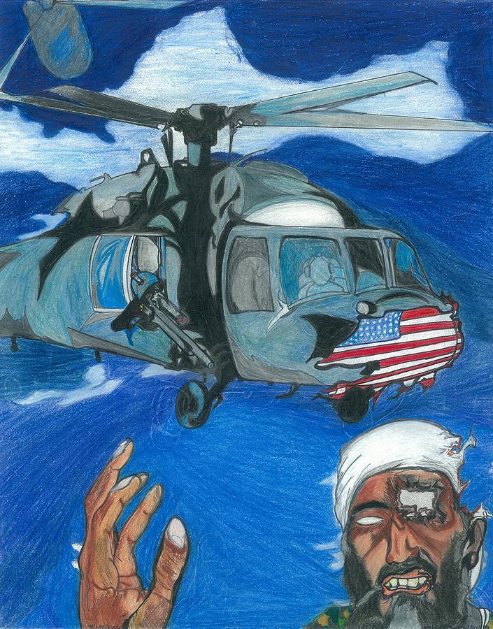 Osama Drawing - Osama Defeated By An Artist by Justin Chase