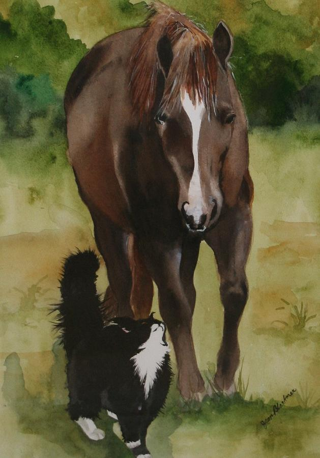 Horse Painting - Oscar And Friend by Jean Blackmer