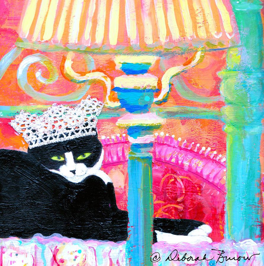 Cat Painting - Oscar-kat King by Deborah Burow