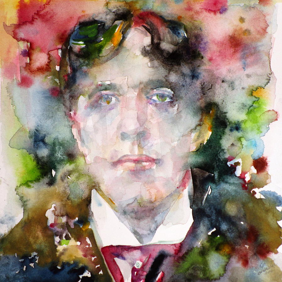 Oscar wilde watercolor portrait 9 painting by fabrizio for Art and decoration oscar wilde