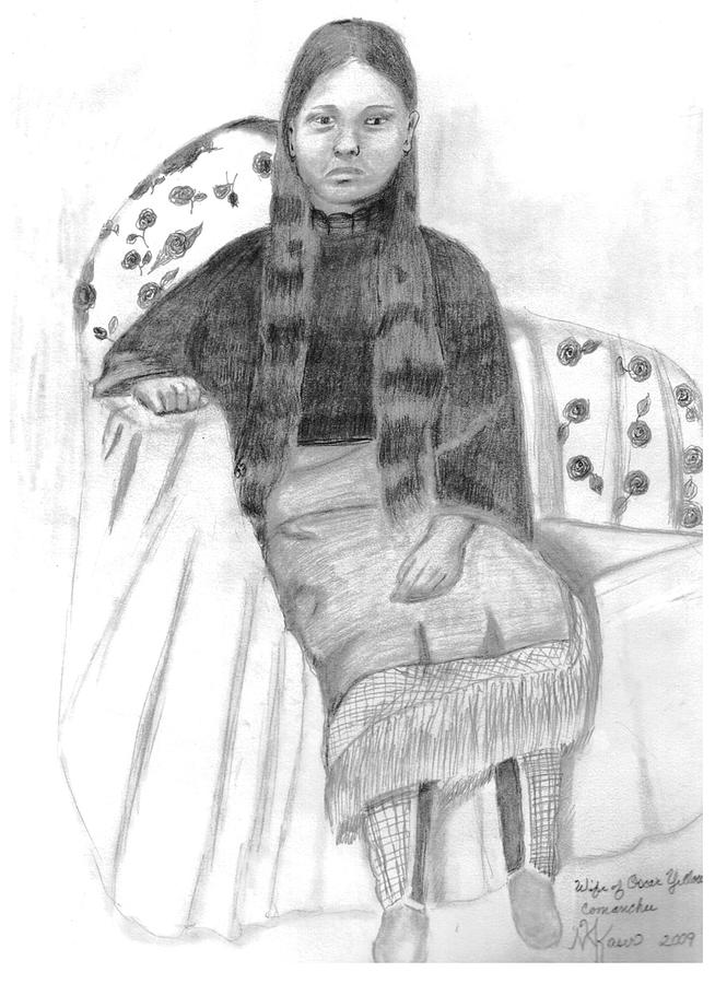 Pencil On Paper Drawing - Oscar Yellow Wolfs Wife by Mary Kaser