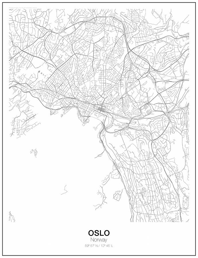 Oslo Minimalist Map Digital Art by Lori Hinner