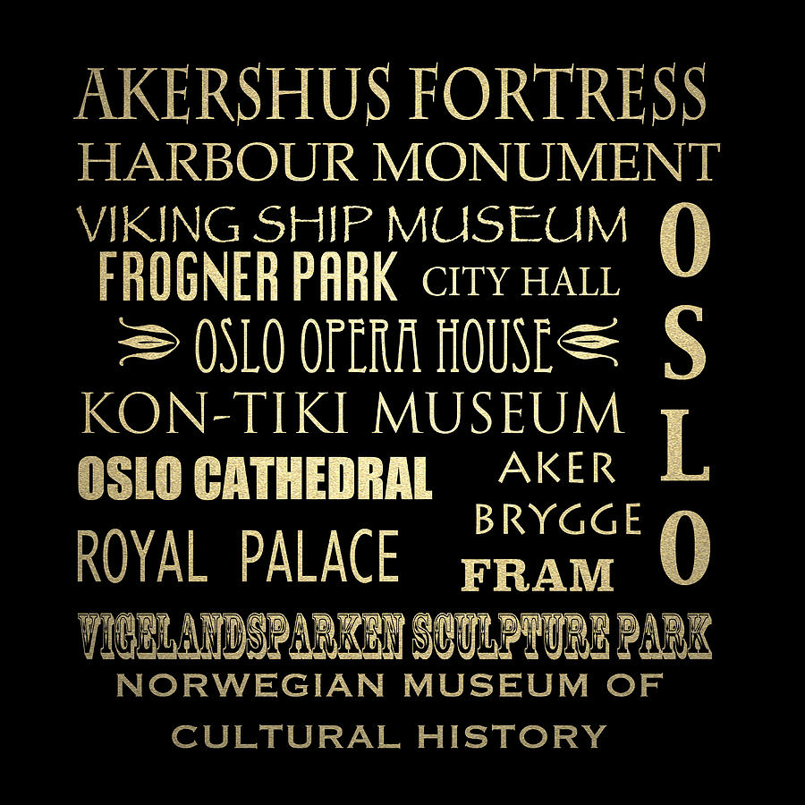 Akershus Fortress Digital Art - Oslo Famous Landmarks by Patricia Lintner
