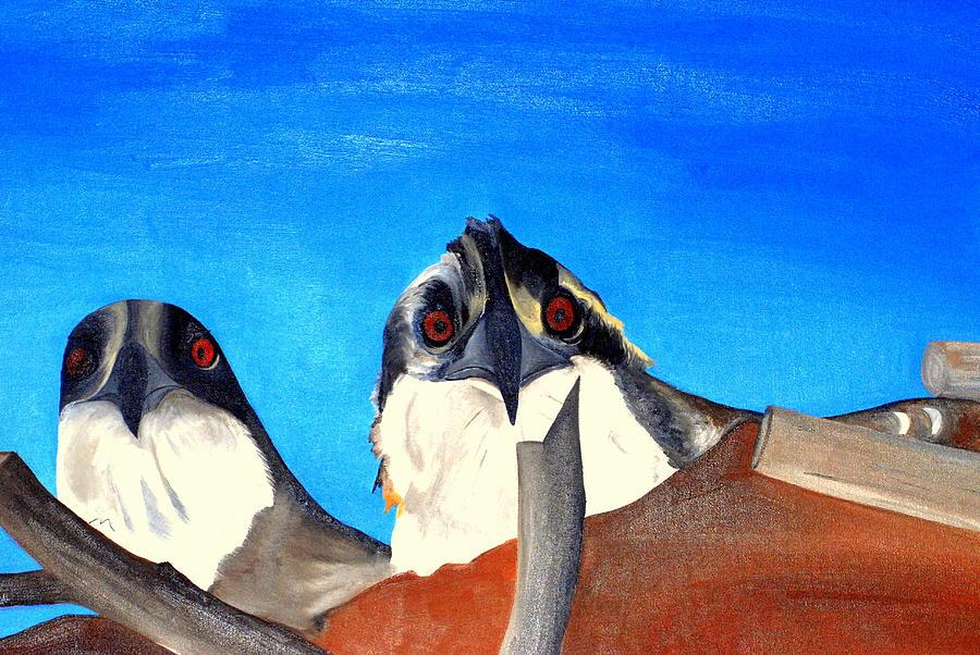 Osprey Painting - Osprey Baby Hawks by Bridgette  Symanski