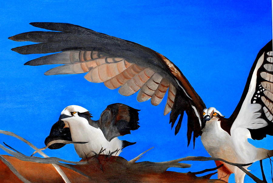 Osprey Painting - Osprey Mother And Oh How Grand He Is by Bridgette  Symanski