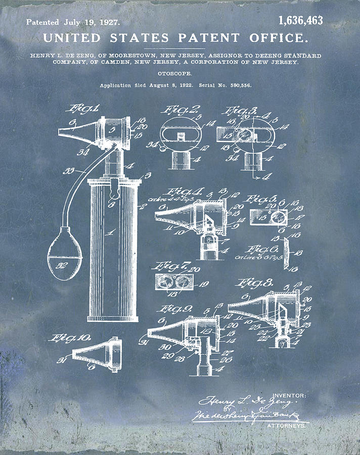 Otoscope Digital Art - Otoscope Patent 1927 Blue Grunge by Bill Cannon
