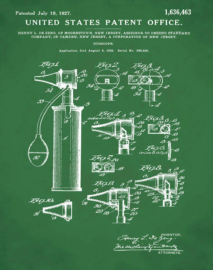 Otoscope Digital Art - Otoscope Patent 1927 Green by Bill Cannon
