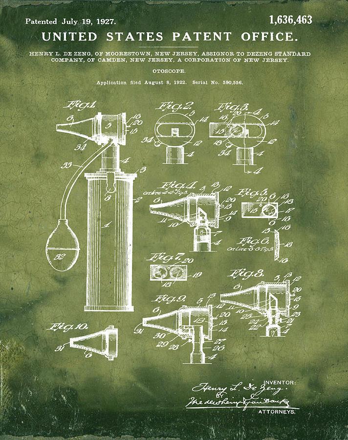 Otoscope Digital Art - Otoscope Patent 1927 Grunge by Bill Cannon