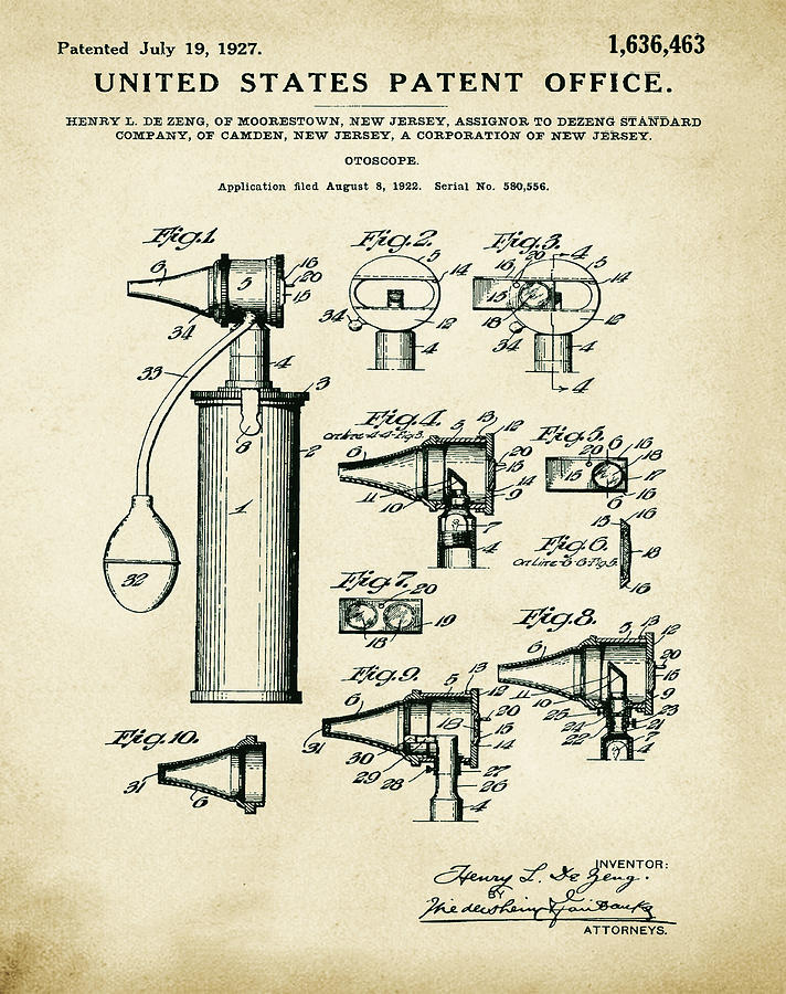 Otoscope Digital Art - Otoscope Patent 1927 Old Style by Bill Cannon
