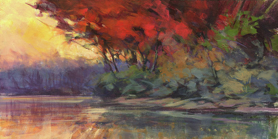 Red Painting - Otsego Lake by Greg Barnes