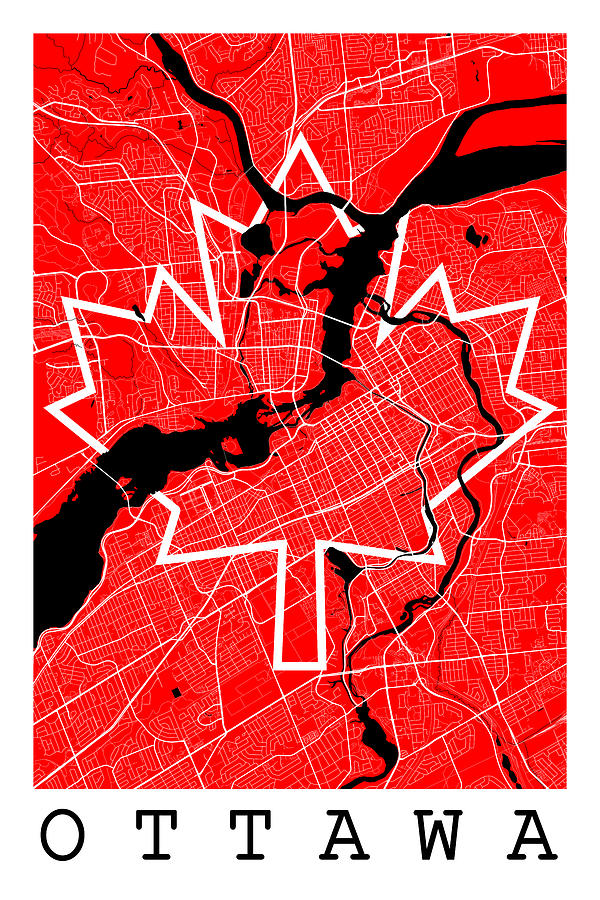 Map Of Ottawa Canada.Ottawa Street Map Ottawa Canada Road Map Art On Canada Flag