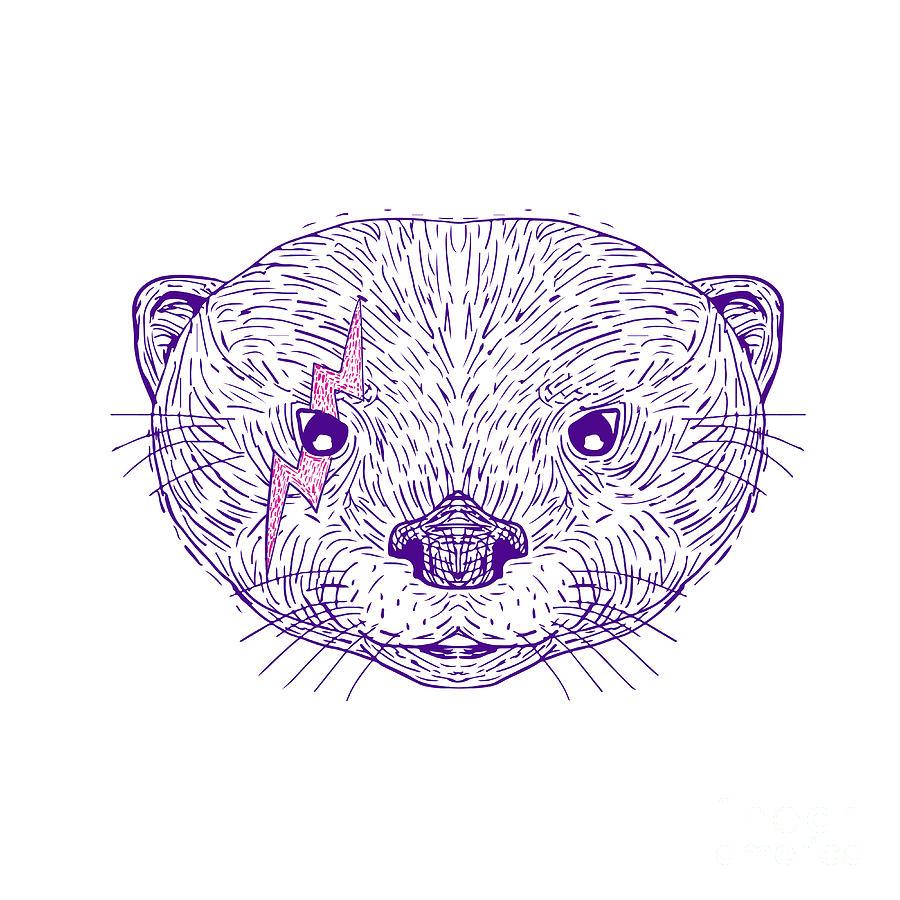 Illustration Digital Art - Otter Head Lightning Bolt Drawing by Aloysius Patrimonio