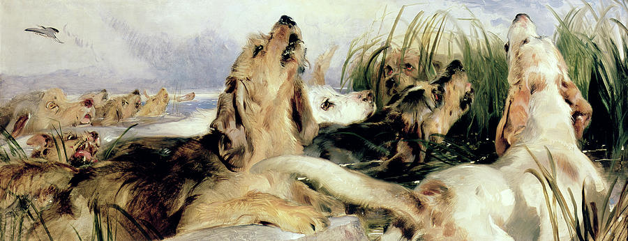 Howling Painting - Otter Hounds by Sir Edwin Landseer