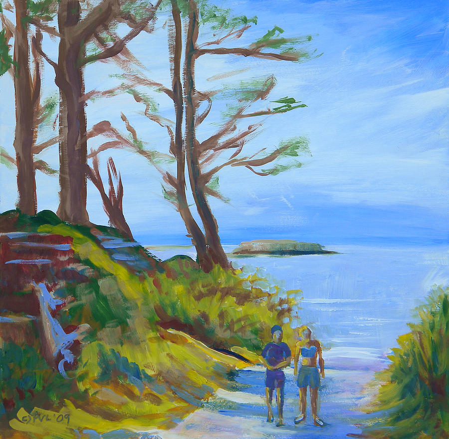 Oregon Coast Painting - Otter Rock Marine Garden Path by Pam Van Londen