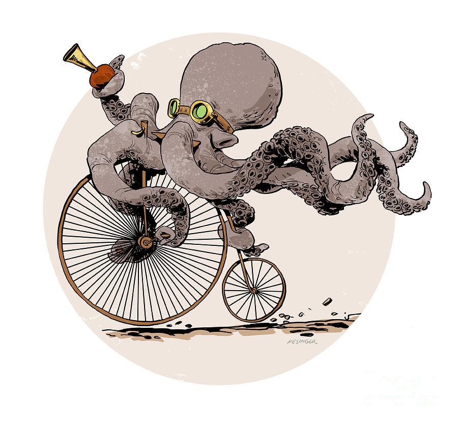 Octopus Digital Art - Ottos Sweet Ride by Brian Kesinger