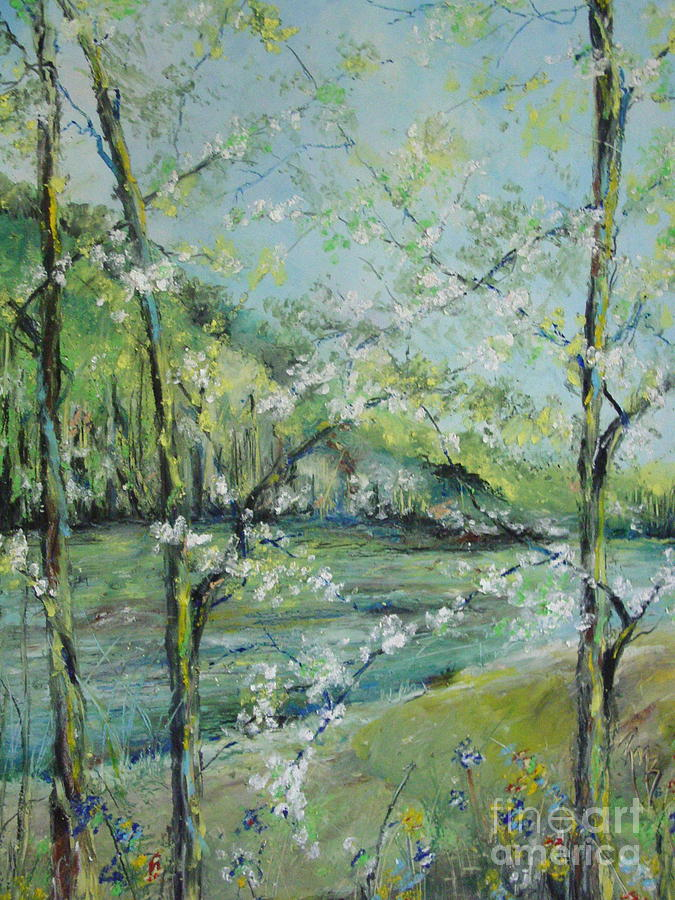 Water Painting - Ouachita River In Spring by Robin Miller-Bookhout