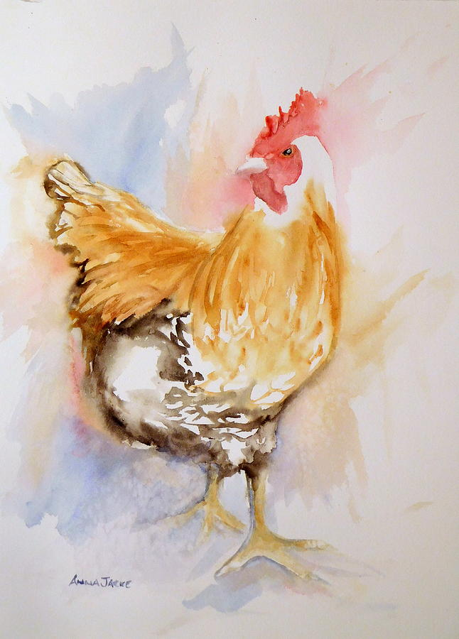Barnyard Chicken Painting - Our Buff Rooster  by Anna Jacke