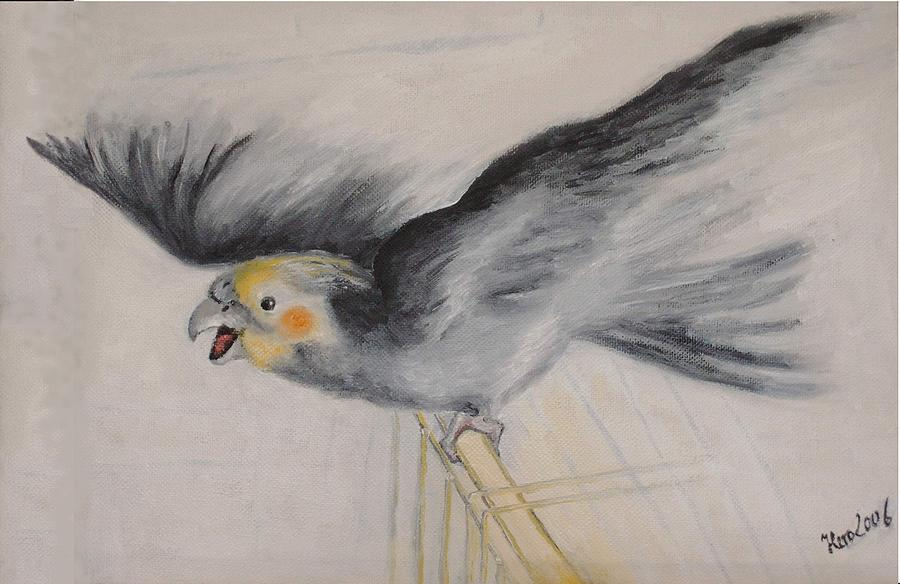 Bird Painting - our cockatiel  Coco by Helmut Rottler