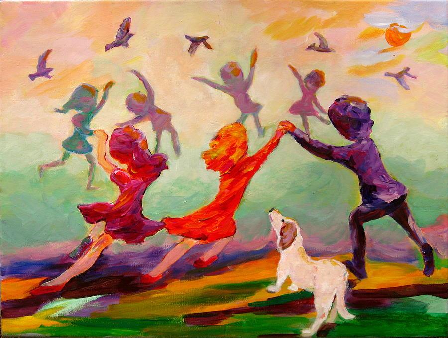 Children Painting - Our Dancing Children by Naomi Gerrard