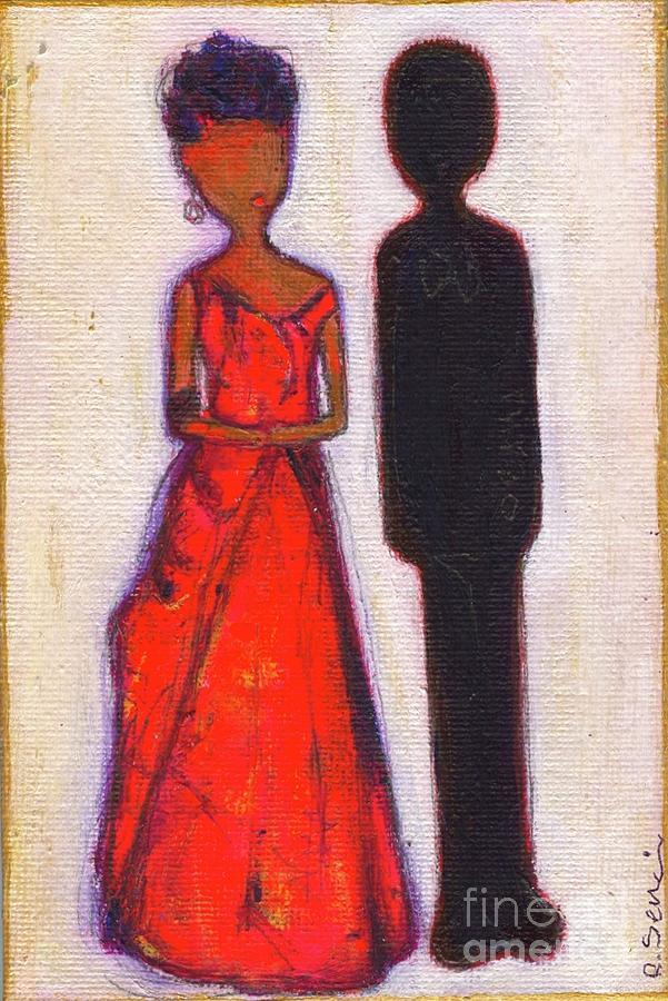 Girl Painting - Our First Lady In Red Her Husband Is Black by Ricky Sencion