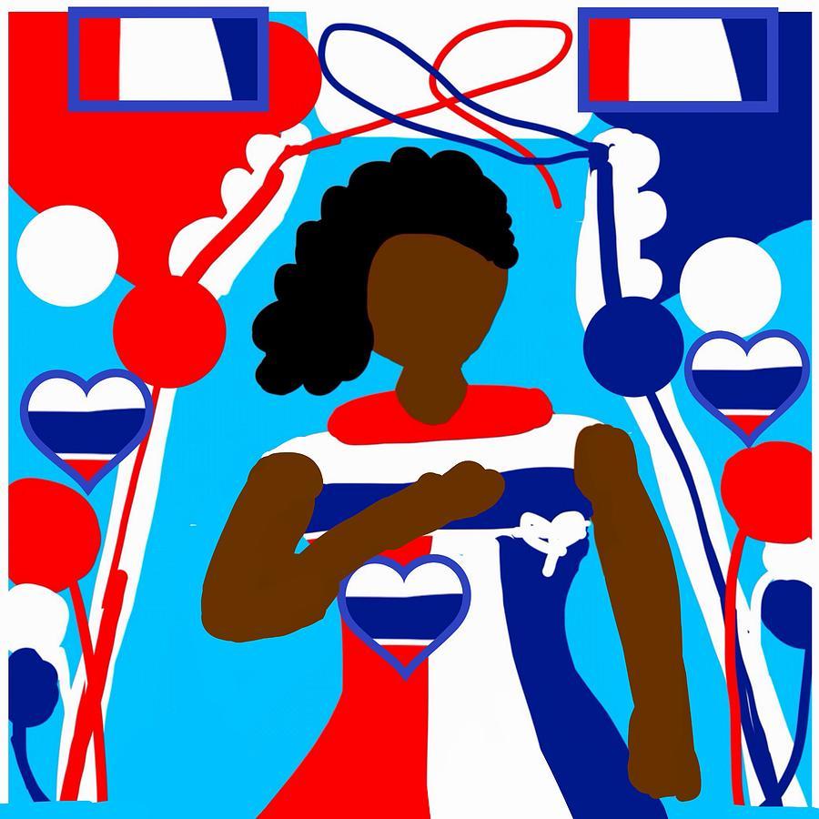 Red Digital Art - Our Flag Of Freedom 3 by Joan Ellen Gandy of The Art Of Gandy