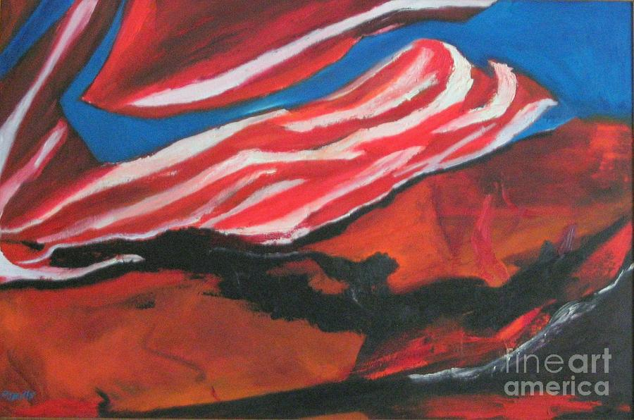 Abstract Form Painting - Our Flag Their Oil by Patrick Mills