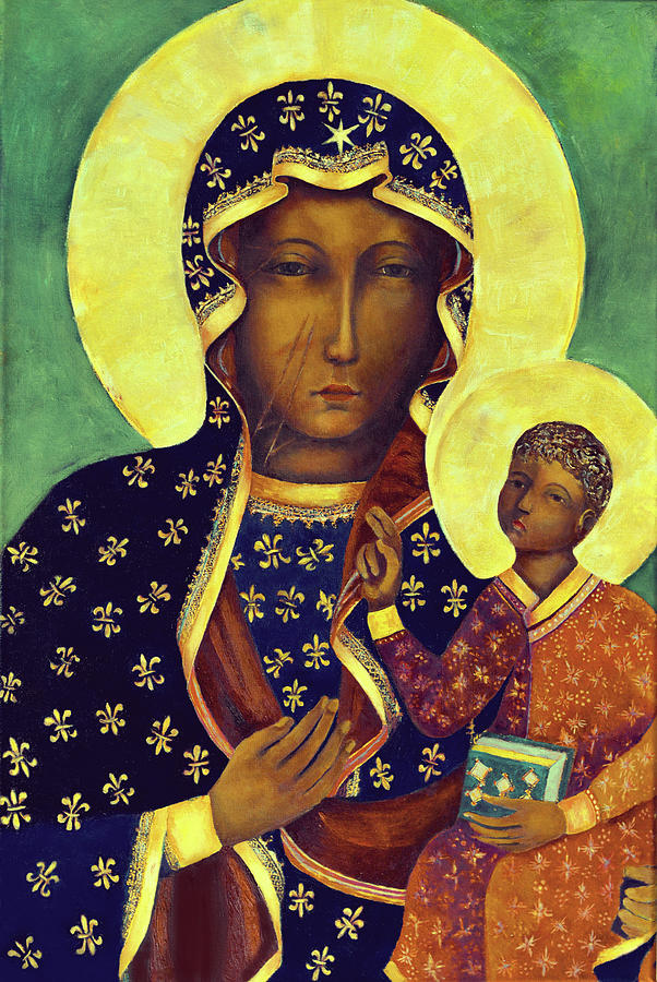 Our Painting - Our Lady of Czestochowa Black Madonna Poland Virgin Mary Art by Magdalena Walulik