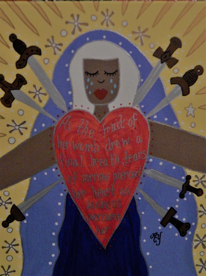 Holy Painting - Our Lady Of Sorrows by Angela Yarber