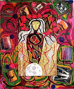 Outsider Artist Mixed Media - Our Lady Of The Light by Michael Puleo